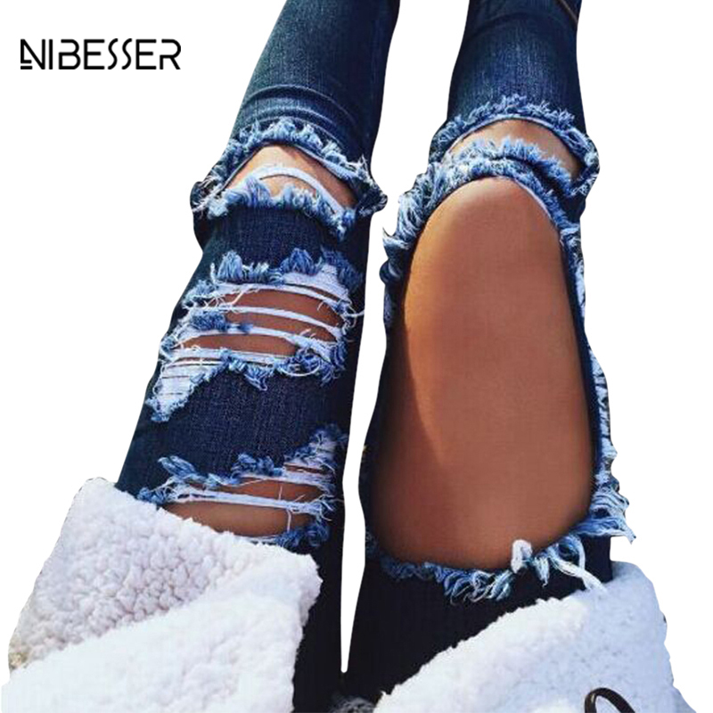 NIBESSER 2017 Sexy Hole Ripped Jeans Bottoms Female New Skinny Slim Pencil Pants Feminine Summer Hot Blue Jeans Para Mujeres