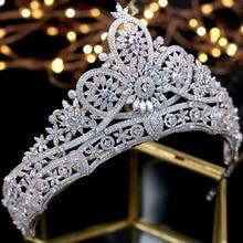 מדהים כלה כתר זירקון חתונה מצנפות קריסטל נסיכה כתרים חתונת שיער אביזרי coroa דה noiva