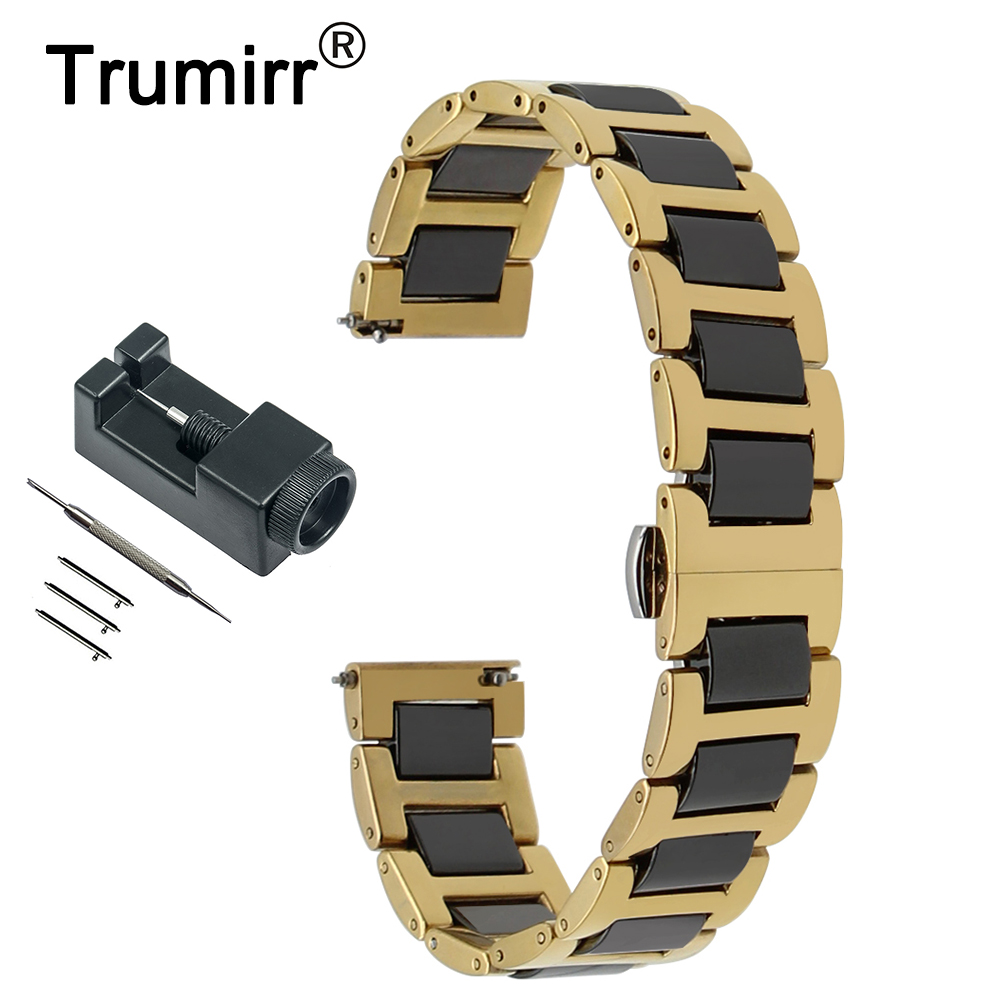 18mm 20mm 22mm Ceramic + Stainless Steel Watch Band Universal Watchband Butterfly Buckle Strap Quick Release Wrist Belt Bracelet 20mm 22mm ceramic