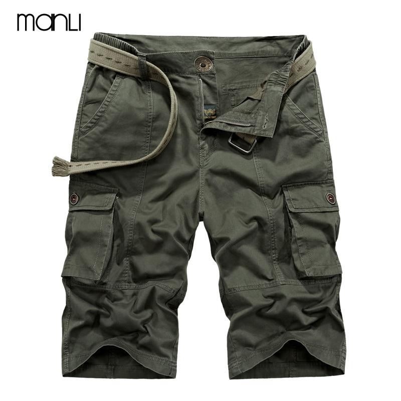 MANLI Men Shorts Summer Hiking Military Shorts No Belt Loose Breathable Men Climbing Trekking Cargo Short Trousers Plus Size 42
