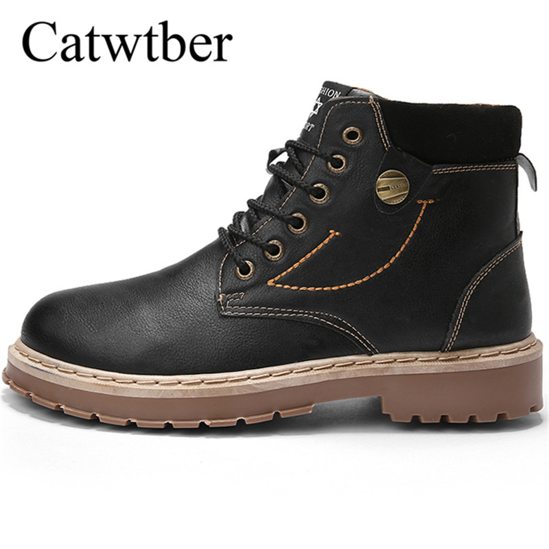 Catwtber Autumn Winter Business Dress Wedding Men Boots Ankle Comfortable Casual Shoe Split Leather High Quality Boots Shoes Men
