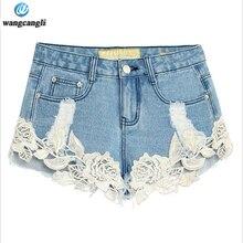 skinny jeans women Lace shorts crochet hollow thin women summer 2017 hot pants broke the way lace stitch hole boyfriend jeans
