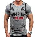 Nueva Marca de Moda 2017 Letras Imprimir Slim Fit corta Camiseta hombres Camiseta encapuchada Ocasional de Los Hombres T-Shirt de Algodón Camisetas tamaño asiático