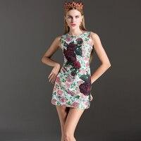 Sheath Fashion Dresses Women 2017 Summer Sleeveless Jacquard High Quality Rose Print Pretty Appliques Mini New Hot Sale Dress