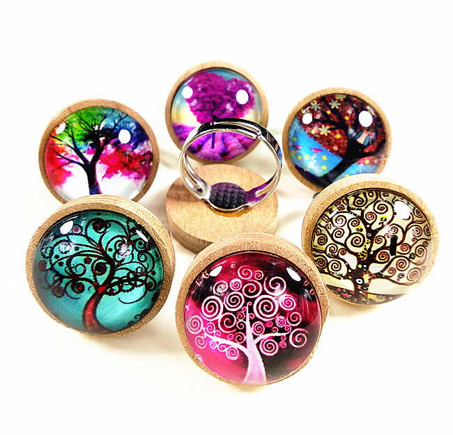 Jiangzimei 24pcs logs dark caffeine Wood cabochons with tree of life Glass cabochons finger Rings Ethnic retro-style