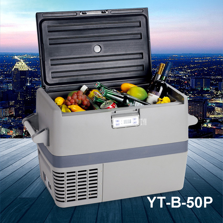YT-B-50P Smad DC 12 -24V Mini Car Truck Refrigerator 49L R134a Big Compressor Boat Capacity RV Refrigerator Freezer PP + PE 690w cooling capacity coolant compressor r134a suitable for single door commerce stainless steel display and freezer