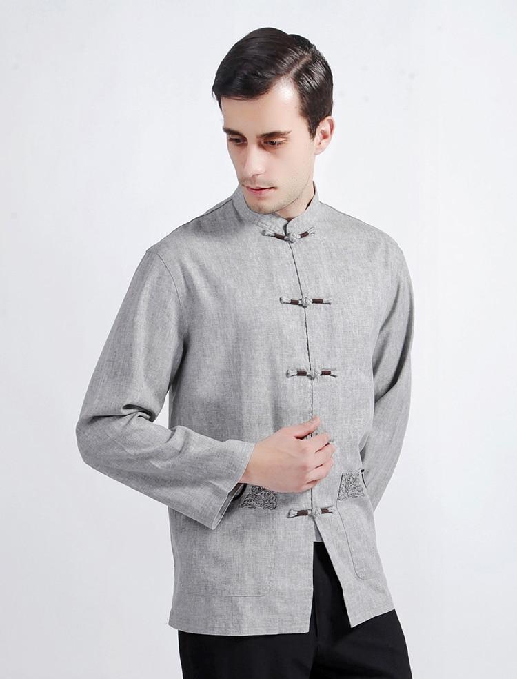 Mens Shirt Mandarin Collar