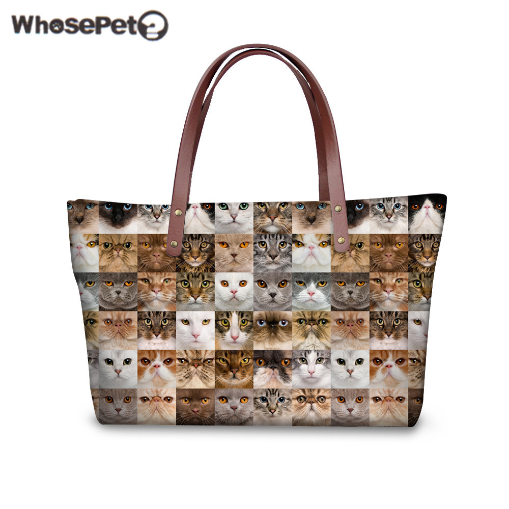 WHOSEPET Cats Dogs Tote Bags for Women Fashion Animals Printing Handbags for Girls High Quality Waterproof