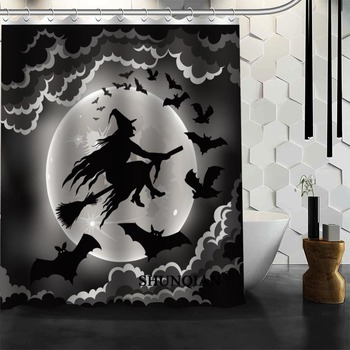 Halloween murciélagos 04 Cortina de ducha adornos navideños para el hogar tela impermeable cortina ducha baño cortina de baño A9.4
