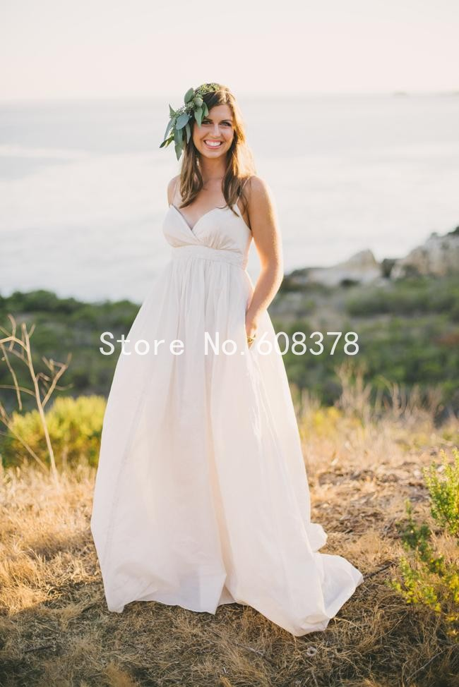 2015 Maternity Beach Wedding Dress Vintage Plus Size Spaghetti Straps Beading