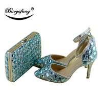 BaoYaFang Sea Blue crystal Women wedding shoes and bags Bride female party shoes and purse Pointed Toe female shoes woman