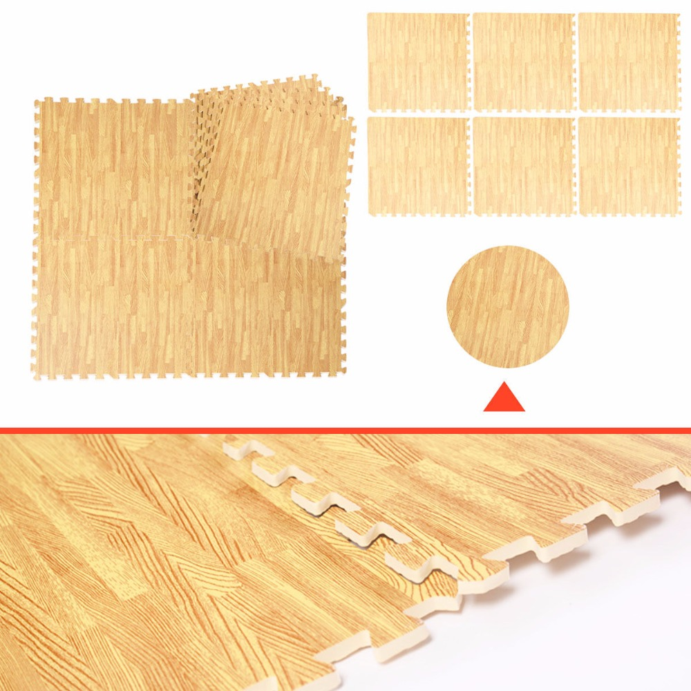 48 sq ft eva foam floor interlocking mat show floor gym mat wood color hw51182 in mat from home. Black Bedroom Furniture Sets. Home Design Ideas