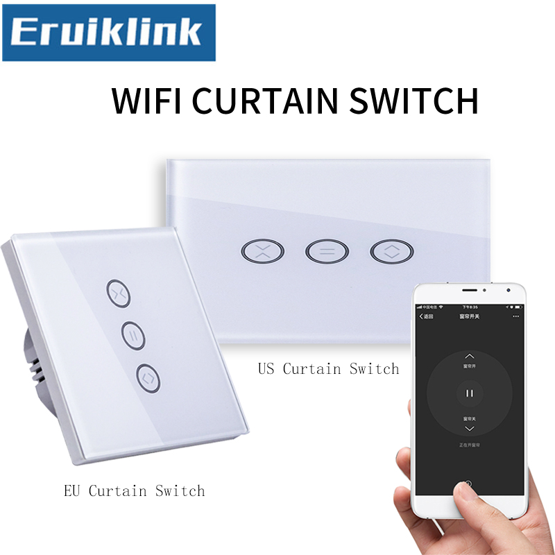 EU/UK Standard Wifi Control Touch Curtain Switch Glass Panel APP Curtain Switch for Electric Curtain,Work with Google home/Alexa ewelink dooya electric curtain system curtain motor dt52e 45w remote control motorized aluminium curtain rail tracks 1m 6m