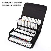 80 slots de grande capacidade dobrável caneta marcador caso lona arte marcadores caneta armazenamento saco transporte durável esboço ferramentas organizador
