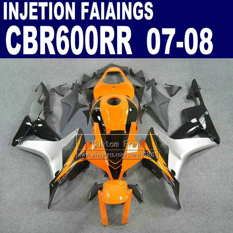Injection body fairings kit for Honda CBR 600 RR fairing set 07 08 CBR 600RR CBR600RR 2007 2008 orange silver motorcycle part injection fairings kit for honda 600 rr fairing 2007 2008 cbr 600rr cbr 600 rr 07 08 motistar motorcycle body kits