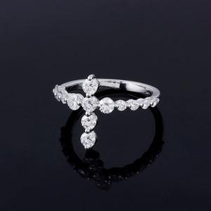 Image 2 - Transgems w kształcie krzyża 14 K białe złoto pierścień przyrzeczenia dla kobiet prezent 3 MM Moissanite F kolor doskonały Cut kobiety pierścień fine Jewelry