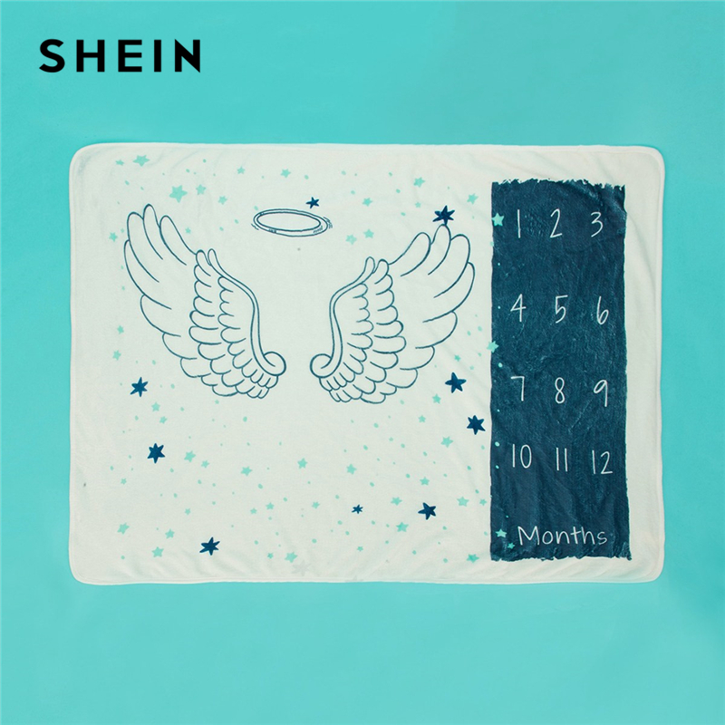 SHEIN Kiddie Angel Wings Print Baby Milestone Blanket Kids 2019 New Spring Fashion Korean Letter Pattern Baby Muslin Blankets spring clothes new pattern girl korean trend fashion leisure time letter girl child cowboy 2 pieces kids clothing suits sets