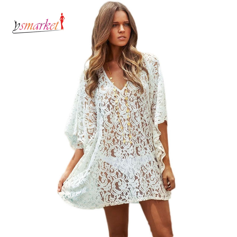 3a7062a5be Sexy Lace Beach Cover Up Dress Cotton Tunic New Arrival Summer Women  Swimsuit Sexy V Neck Beach Kaftan Sun Protection Dress-in Cover-Ups from  Sports ...