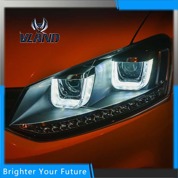 Car Styling Headlights for For VW Volkswagen POLO GTI 2010-2016 Headlights DRL Bi Xenon Lens UU Style DRL Assembly led headlights for vw volkswagen golf 6 mk6 2010 2014 uu type drl led headlights demon eyes