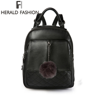 Herald Fashion Quality Women Leather Backpack With Hair Ball Solid Simple School Bag For Teenage Girls Causal Lady's Daily Bag
