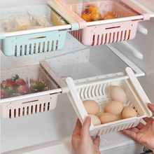 Refrigerator Creative Storage Rack Partition Finishing Kitchen Plastic Article Container Shelf Retractable Drawer