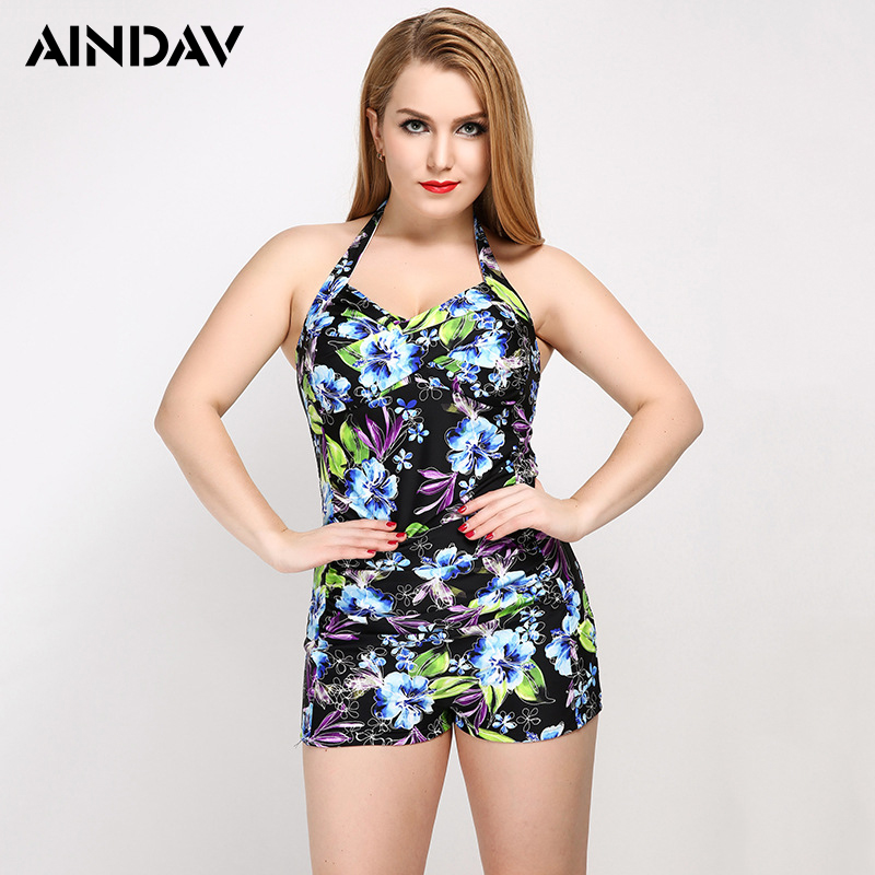 AINDAV Boyleg Print One Piece Swimsuit Swimming Suit for Women Bathing Suit Large Size Push Up Swimwear Plus Size Monokini aindav one piece swimsuit monokini biquini brasileiro sexy swimwear for women bathing suits plus size bodysuits swimming suit