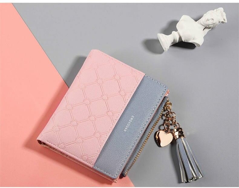 Кожаный кошелек с кисточками для женщин, маленький роскошный бренд, известные мини женские кошельки, кошельки, женские короткие Портмоне на молнии, кошелек Cartera Mujer