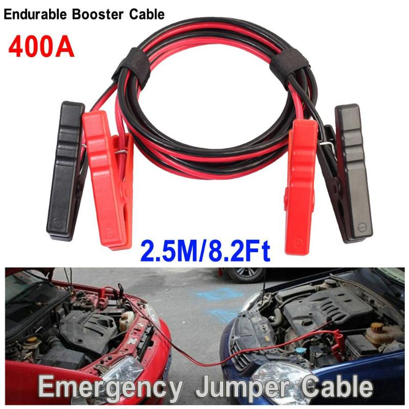 2.5m Car Auto Emergency Battery Booster Cord Copper Cable with Clip Clamp Charging Booster Cable Car Battery Jumper Wire New high quality 36 sqmm 4m jump leads booster cable car emergency tool jumper wire car battery firewire cables copper clip