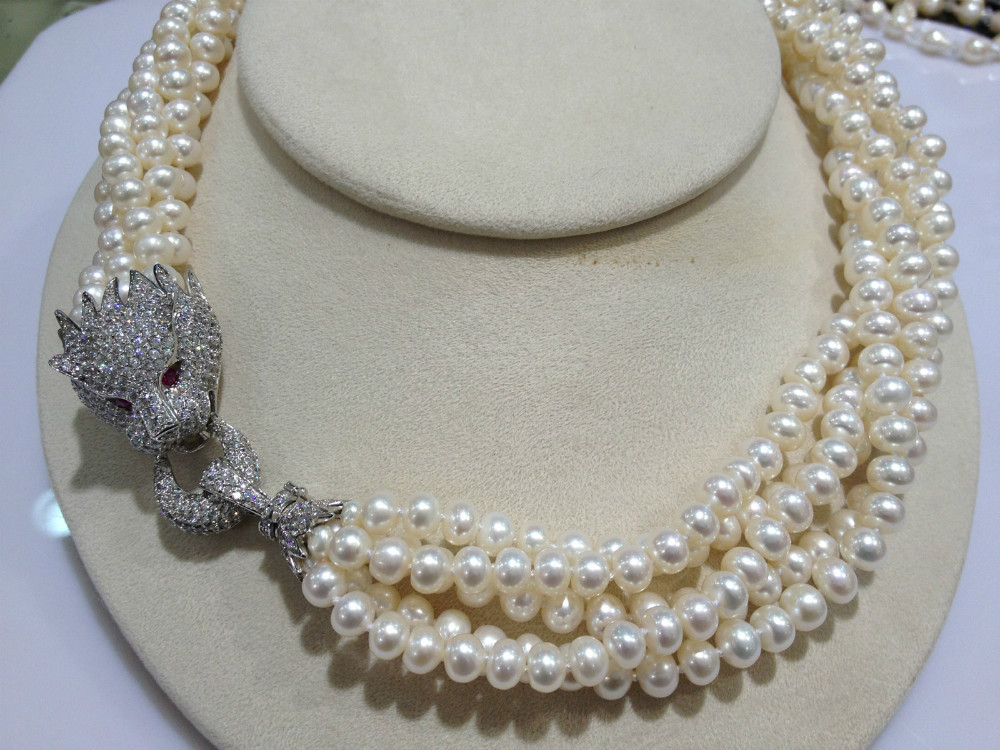 Top Quality Leopard Necklace Pearl Freshwater Pearl Necklace 6-7MM Multilayer For Women Jewelry Free Shipping цена и фото
