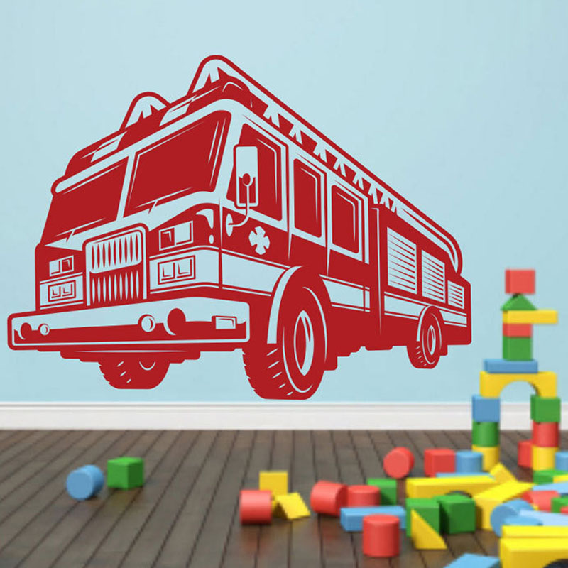 Us 5 89 Cartoon Fire Truck Wall Stickers Nursery Removable Vinyl Adhesive Decals Sticker Home Decor Poster M455 In From