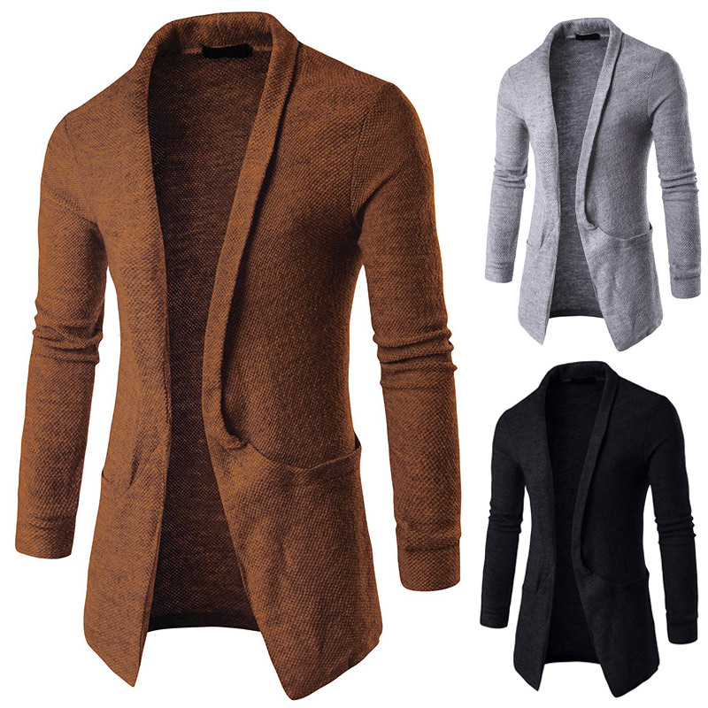 1 Pcs Men Cardigan Sweater Coat Long Sleeve Knitted Fashion Casual for Winter H9