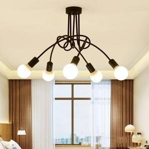 Image 4 - 現代の天井照明リビングルームベッドルームダイニングルームランプ北欧シンプルなスタイル鉄金属スプレー塗装工程黒、白、赤