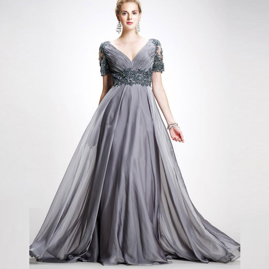 Plus Size Mother Bride Dresses: Gray Vestidos De Festa Chiffon Mother's Dress Plus Size