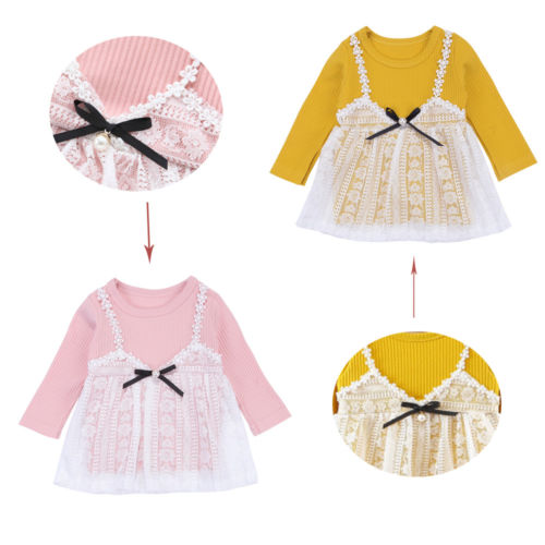 Cute Newborn Kids Baby Girls Lace Dress Long Sleeve Bow Princess Wedding Party Tulle Dre ...