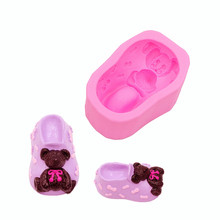 Gadgets Fondant Molds Lovely Bear Baby Shoe Silicone Soap Mold Cake Tool Chocolate Candy DIY Cupcake Topper Decorations