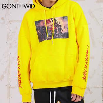 GONTHWID Painting Printed Hoodies Men\'s 2019 Autumn Winter Fleece Sweatshirts Hip Hop Casual Cotton Pullover Skateboard Hoodie