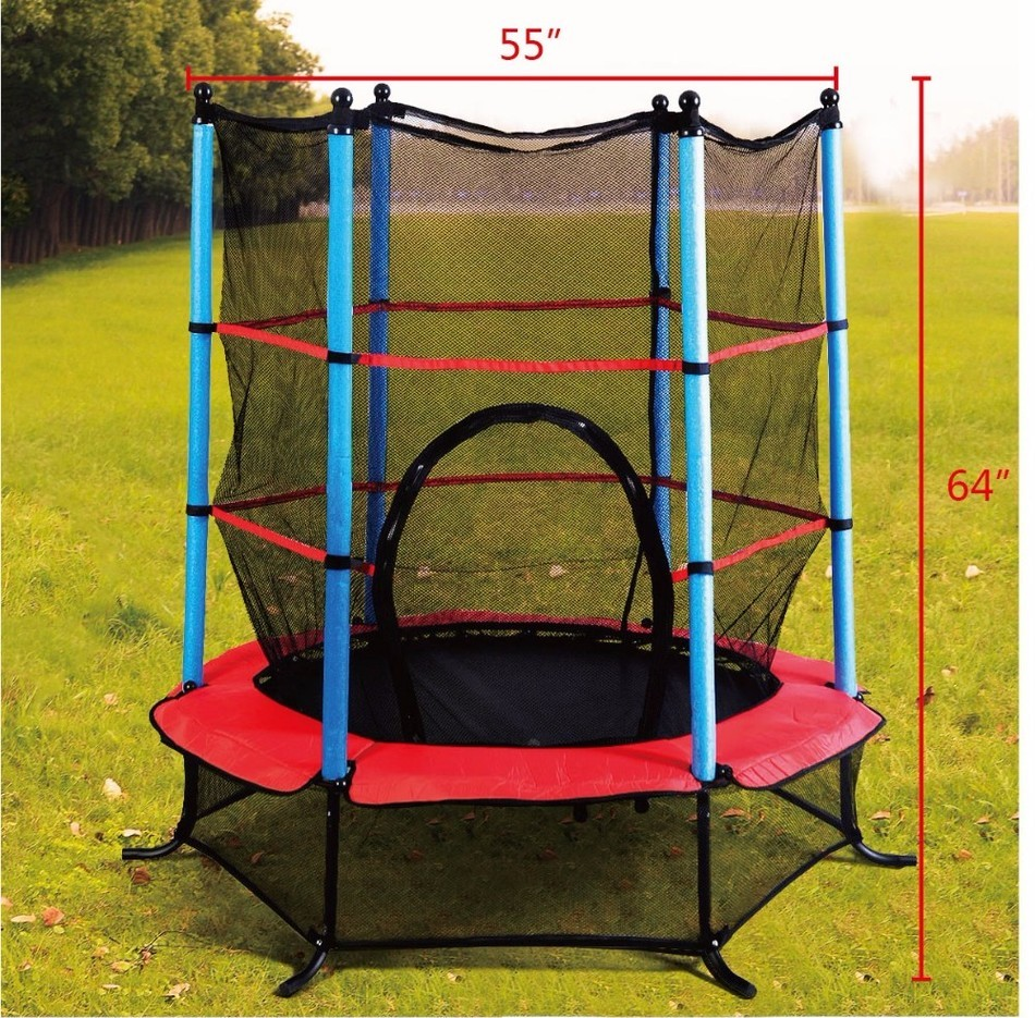 USA Delivery Exercise 55 inch Round Kids Youth Jumping Trampoline W/ Safety Pad Enclosure Combo  цена и фото