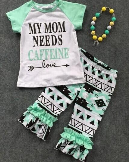 Ropa bebé pantalones cortos establece azteca pant mi mamá necesita cafeína niños con encanto pantalones cortos outifts del bebé embroma la ropa con collar