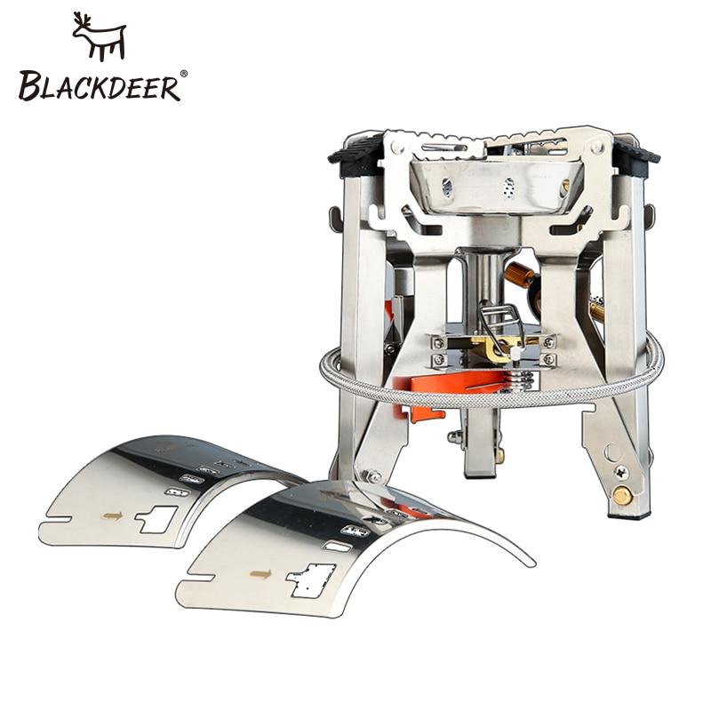 BLACKDEER Ультралегкая титановая газовая плита для кемпинга, пикника, ветрозащитная портативная газовая Складная плита, конфорки, стабильная с лобовым стеклом, на открытом воздухе - 5