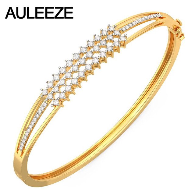 Noble Third-line Real Diamond 14K Solid Yellow Gold 585 Gold Bangles Natural Diamond Wedding Bangles For Women Fine Jewelry