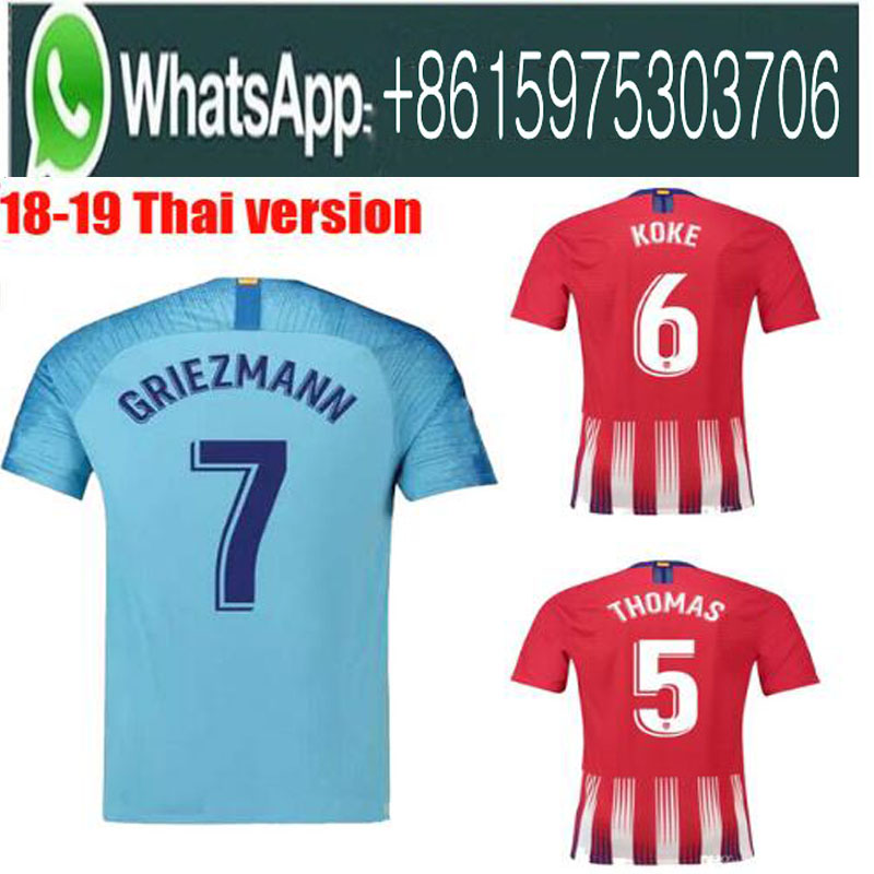 18 19 atletico de madrid Soccer jersey 2018 2019 F.TORRES GRIEZMANN KOKE GABI SAUL CARRASCO football shirt uniform chandal mail(China)