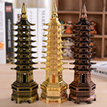 9 layer Wenchang Tower Miniaturas Metal Decoration Craft Gift Home Decoration Gold Metal Tower Famous Buliding Craft Figurine