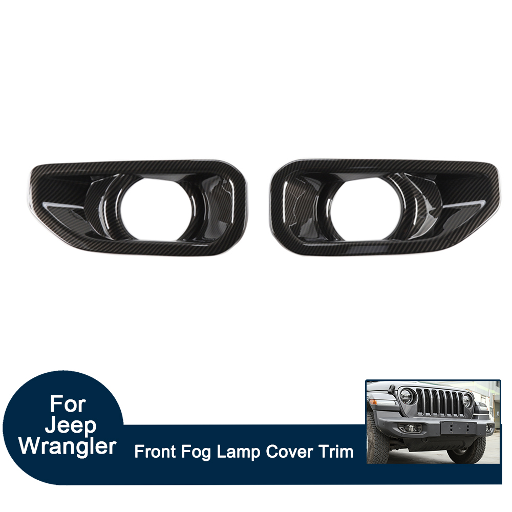 Car Exterior Front Fog Lamp Decoration Trim ABS Carbon Fiber/Red/Sliver Cover set for Jeep Wrangler JL 2018 2pcs(set)Car Exterior Front Fog Lamp Decoration Trim ABS Carbon Fiber/Red/Sliver Cover set for Jeep Wrangler JL 2018 2pcs(set)