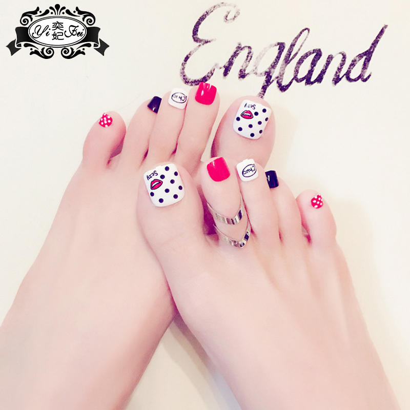 24Pcs Beauty kiss Wave point toenails Short French Fake Nails Full ...