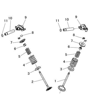 Клапан Впускной Выпускной клапан и прокладка головки цилиндра производства hisun 500CC ATV 14711-F11-0000 и 14721-F11-0000 и 12250-F18-0000