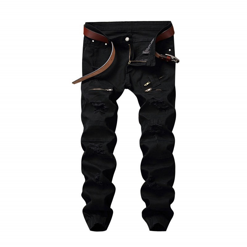 Newsosoo New Mens Hi Street Ripped Jeans Pants Destroyed Denim Joggers With Multi Zipper Elastic Cuff Stretchy Black White