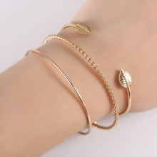 EVERLEAD Bangle Set Fashion Knot Bangle simple personality leaf open bracelet fashion bangle Simple Leaf