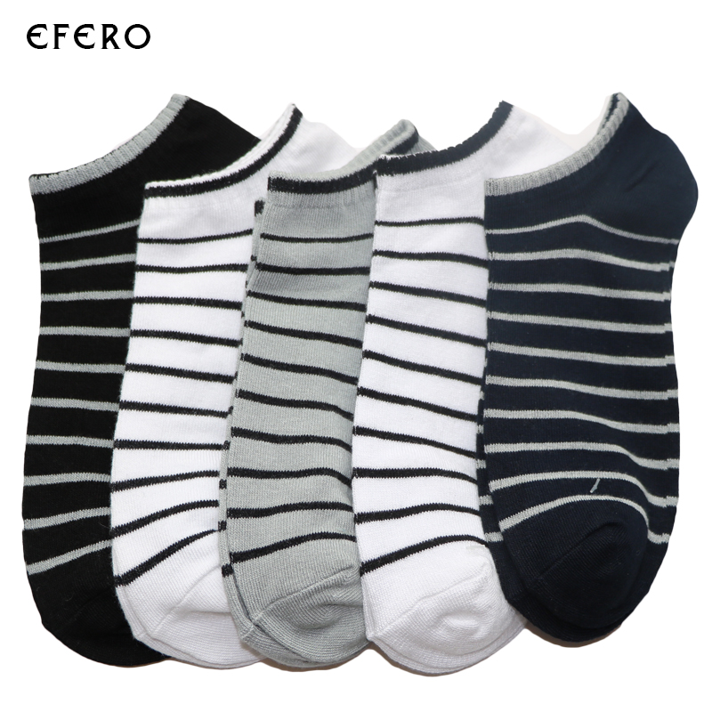5Pair Men Sock Compression Male Summer Spring Shallow Mouth Stripe Socks Short Ankle Socks Meias Masculinas Man Low Cut Socks