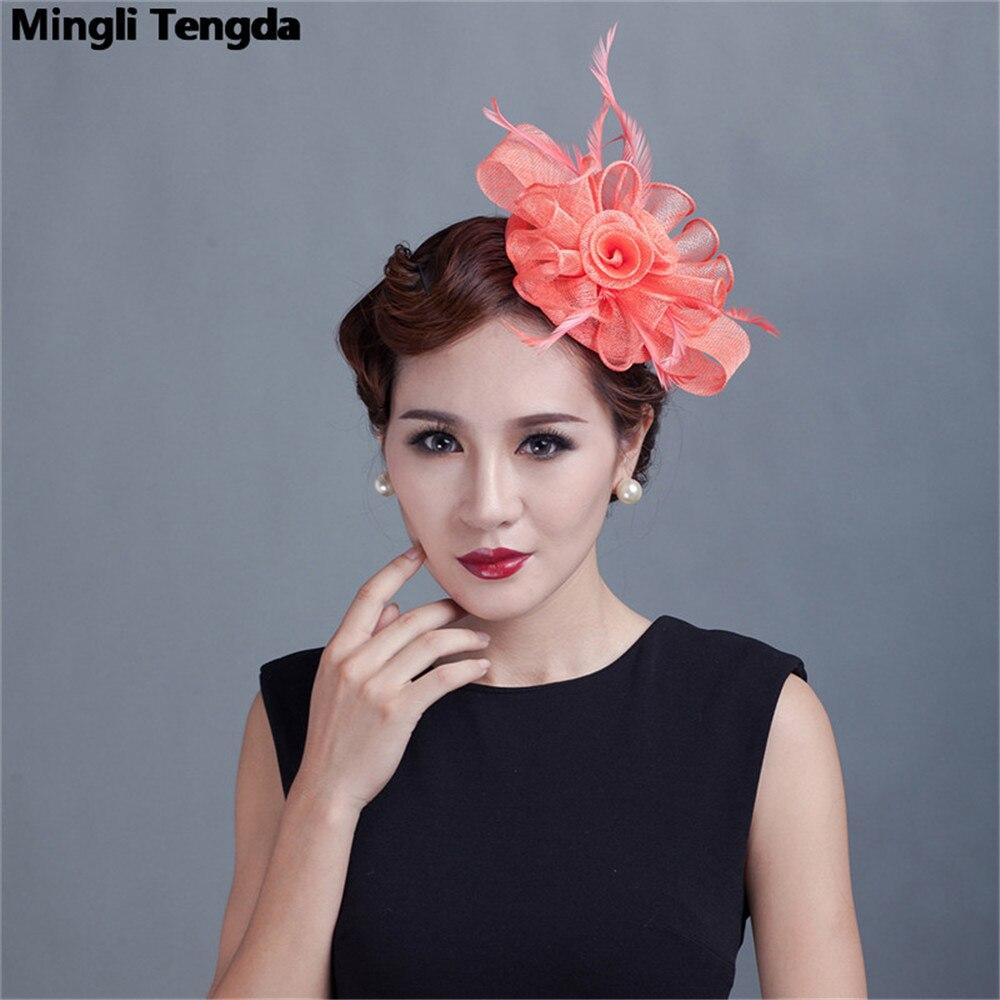 Mingli Tengda Fascinator Wedding Hat Accessoire Mariage Bridal Hair Ornament Fashion Bride Hats Feather and Floral Wedding Hats
