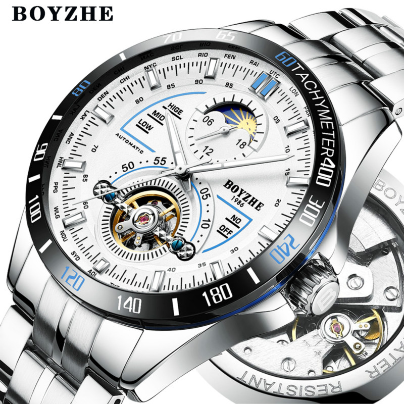 Men Automatic Mechanical Watch Sports Fashion Luxury Luminous Tourbillon Waterproof Stainless Steel Watches Relogio MasculinoMen Automatic Mechanical Watch Sports Fashion Luxury Luminous Tourbillon Waterproof Stainless Steel Watches Relogio Masculino